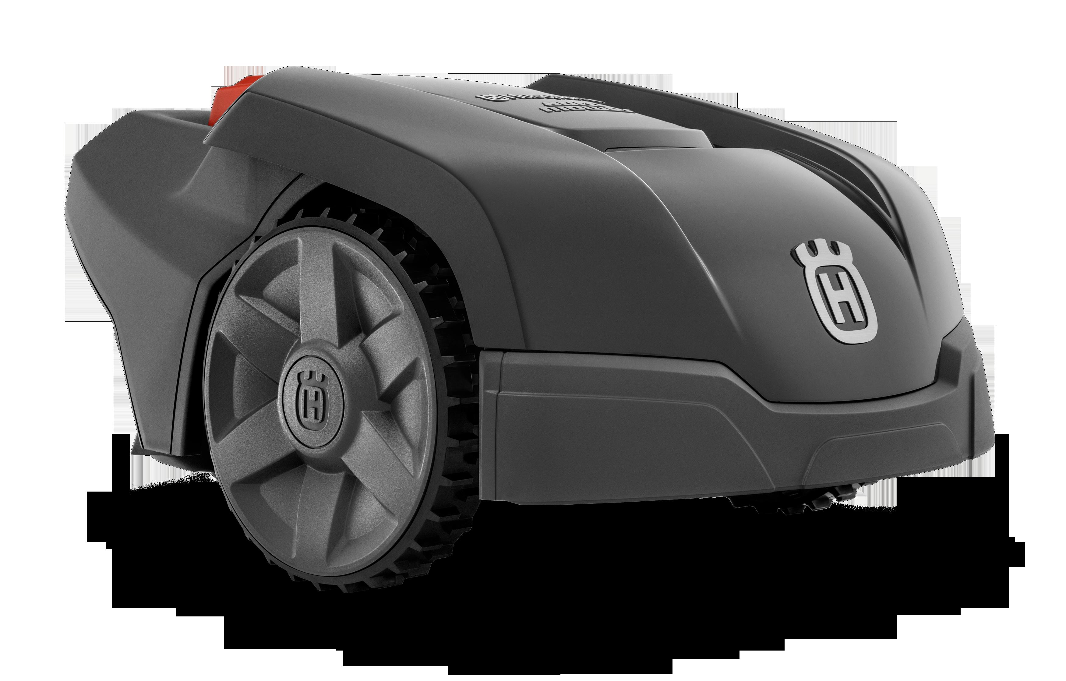 Melns Husqvarna zāles pļāvējs robots – Automower 105 modelis, skats no priekšas labās puses