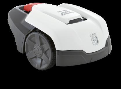 Melns ar baltu augšas daļu, Husqvarna zāles pļāvējs robots – Automower 105 modelis, skats no priekšas labās puses