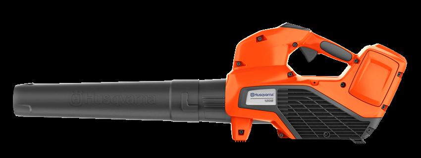 oranžs ar melnu akumulatora lapu pūtējs no sāna skata