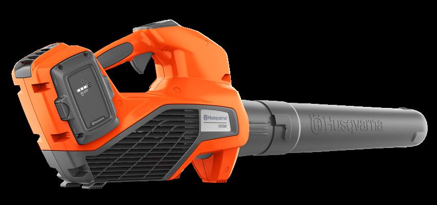 oranžs akumulatora lapu pūtējs no sāna skata