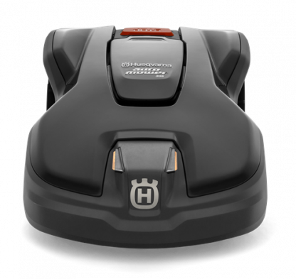 Melns Husqvarna zāles pļāvējs robots, modelis ''Automower 305'', skats no priekšas