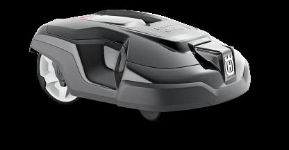 Melns Husqvarna zāles pļāvējs robots – Automower 310 modelis, skats no priekšas labās puses