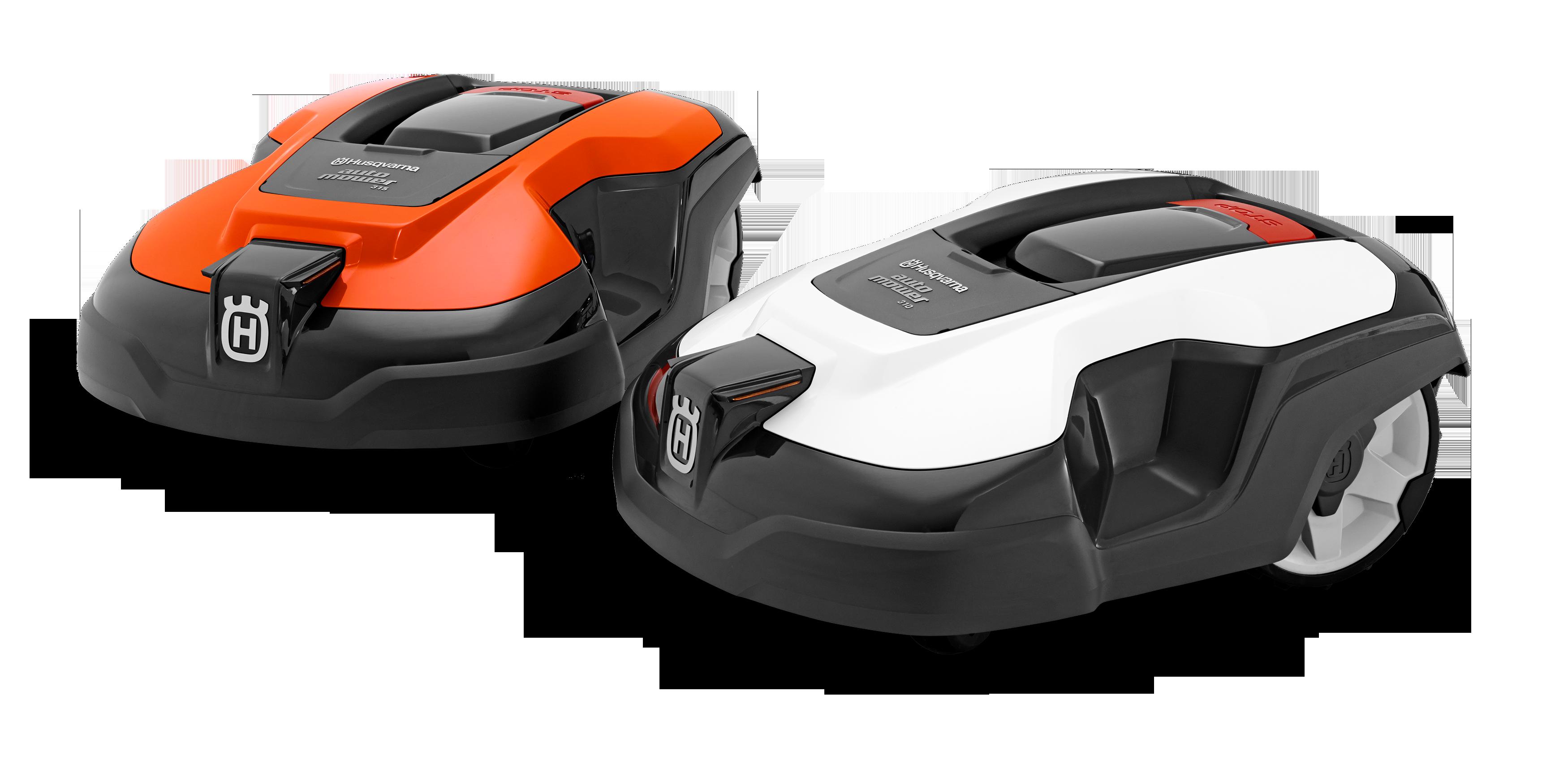Melns ar oranžu augšas daļu un melns ar baltu augšas daļu Husqvarna zāles pļāvēji roboti – Automower 310 modelļi, paaugstināts skats no augšas kreisās puses