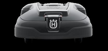 Melns Husqvarna zāles pļāvējs robots – Automower 310 modelis, skats no aizmugures