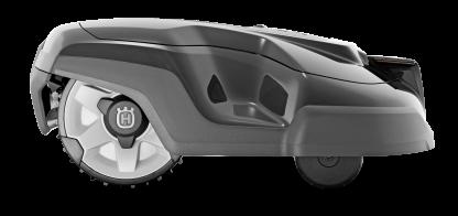 Melns Husqvarna zāles pļāvējs robots – Automower 315 modelis, skats no labā sāna