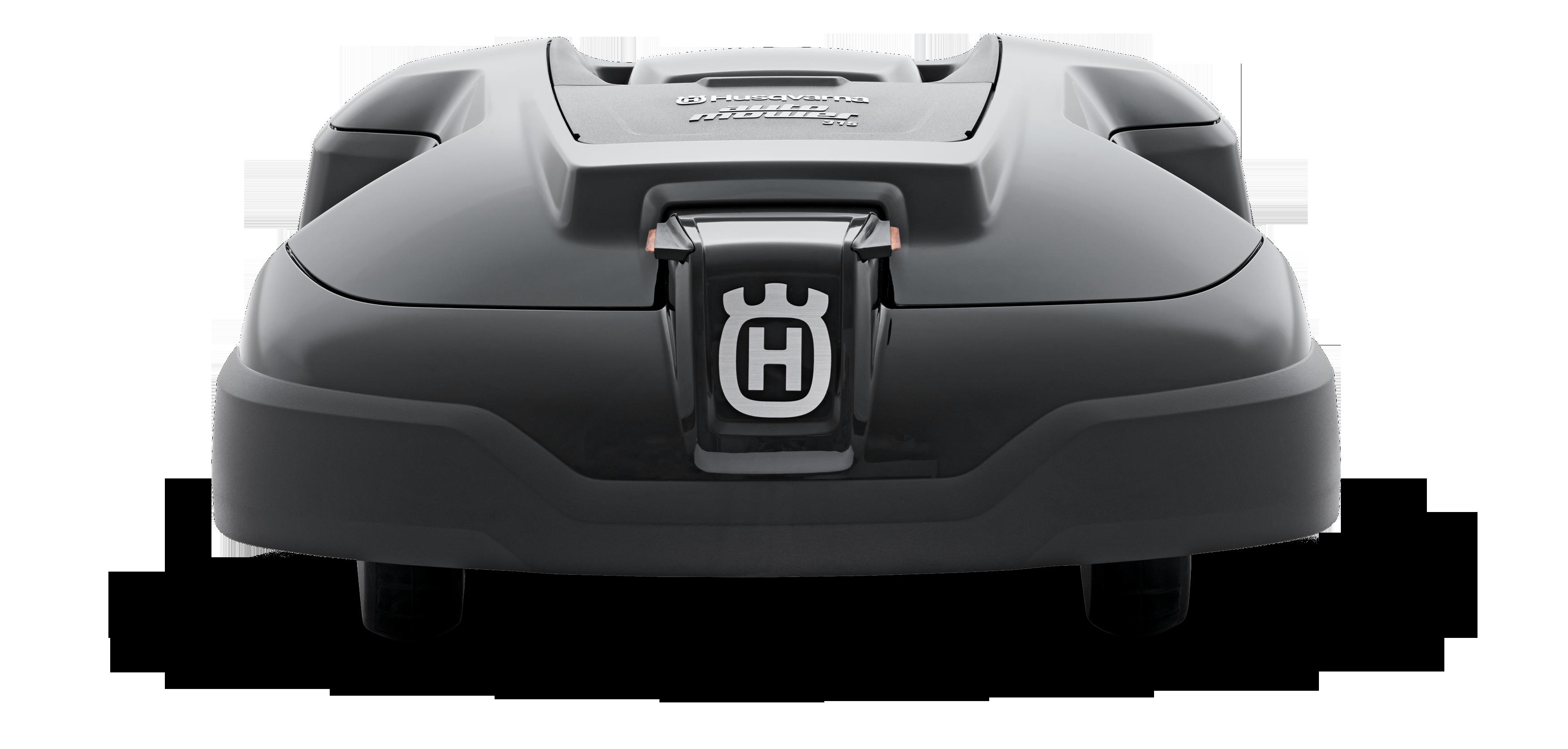Melns Husqvarna zāles pļāvējs robots – Automower 315 modelis, skats no aizmugures