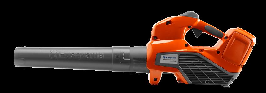 akumulatora lapu pūtējs oranžā krāsā ar melnām detaļām no sāna skata