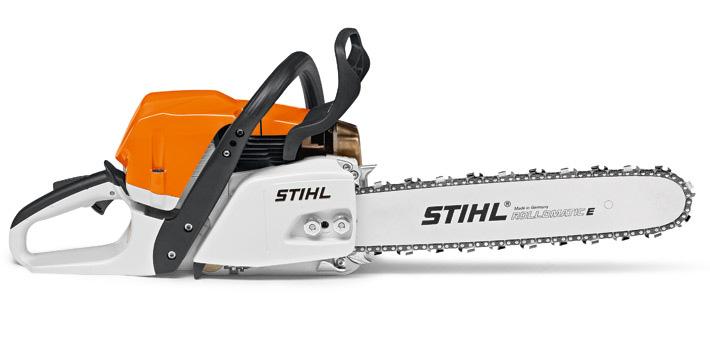Oranžs Stihl motorzāģis, modelis ''MS362 C-M'', skats no labās puses
