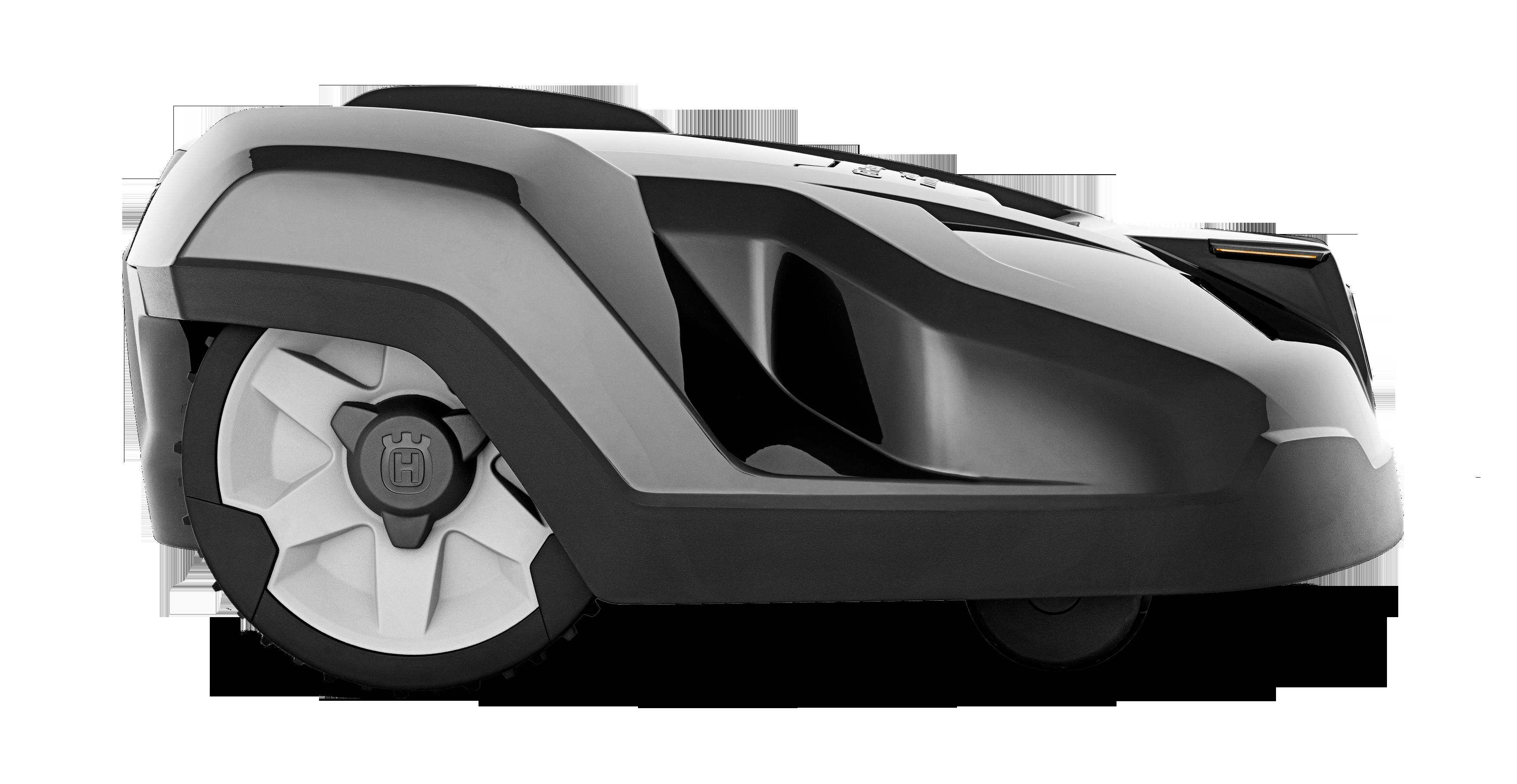 Melns Husqvarna zāles pļāvējs robots – Automower 420 modelis, skats no labās puses