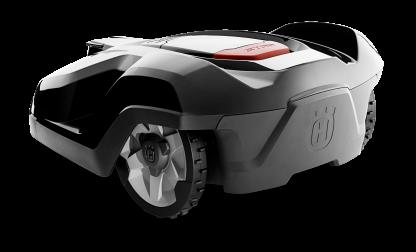 Melns Husqvarna zāles pļāvējs robots – Automower 420 modelis, skats no laizmugures kreisā sāna
