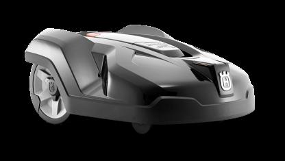 Melns Husqvarna zāles pļāvējs robots – Automower 420 modelis, skats no priekšas