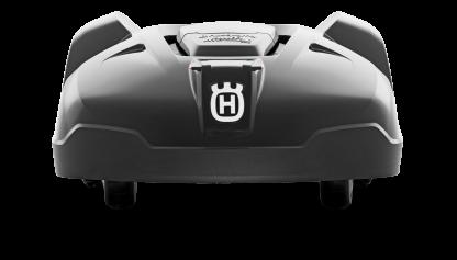 Melns Husqvarna zāles pļāvējs robots – Automower 420 modelis, skats no aizmugures