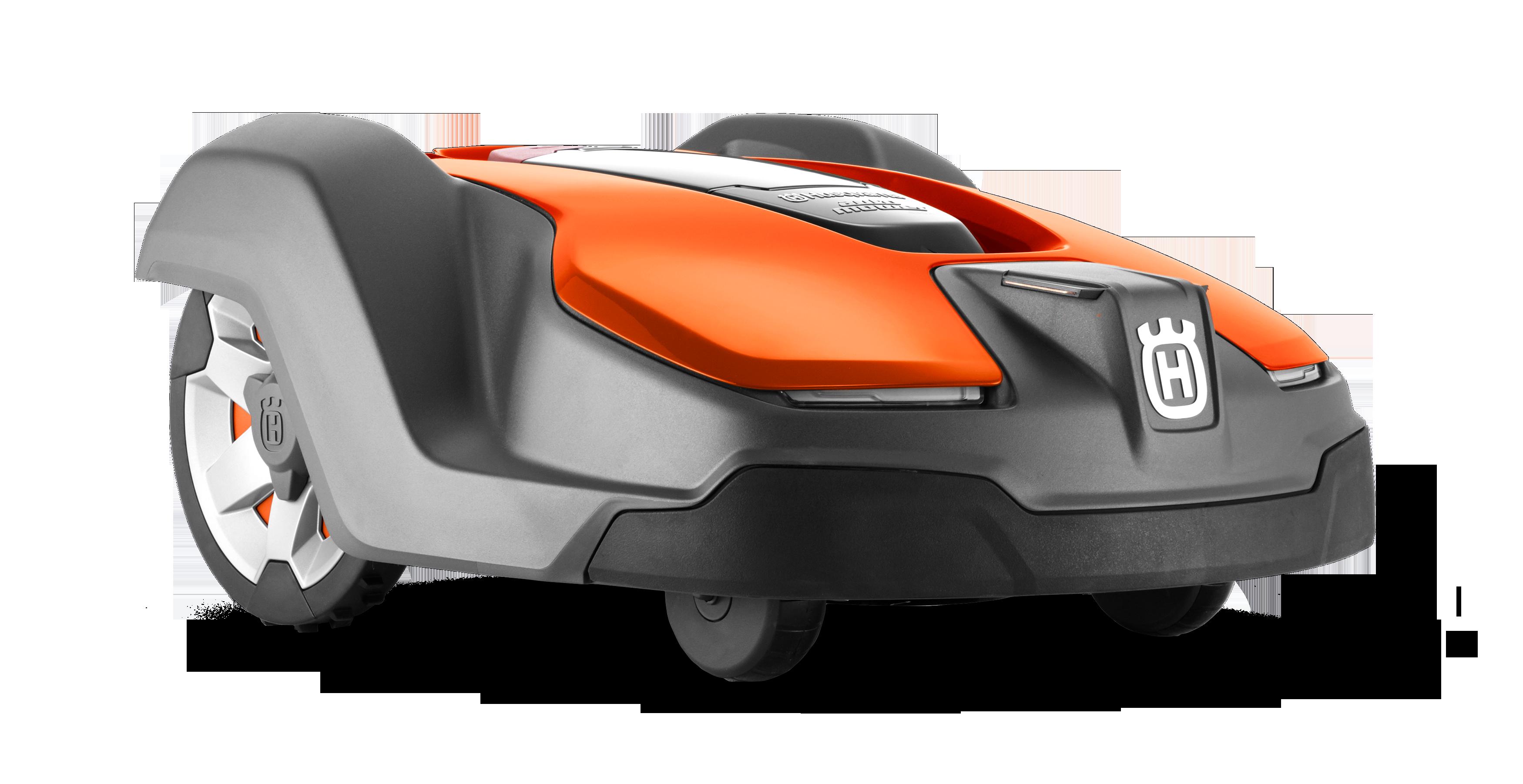 Zāles pļāvējs robots Melns ar Ornažu augšas daļu, Husqvarna zāles pļāvējs robots – Automower 430X modelis, skats no priekšas
