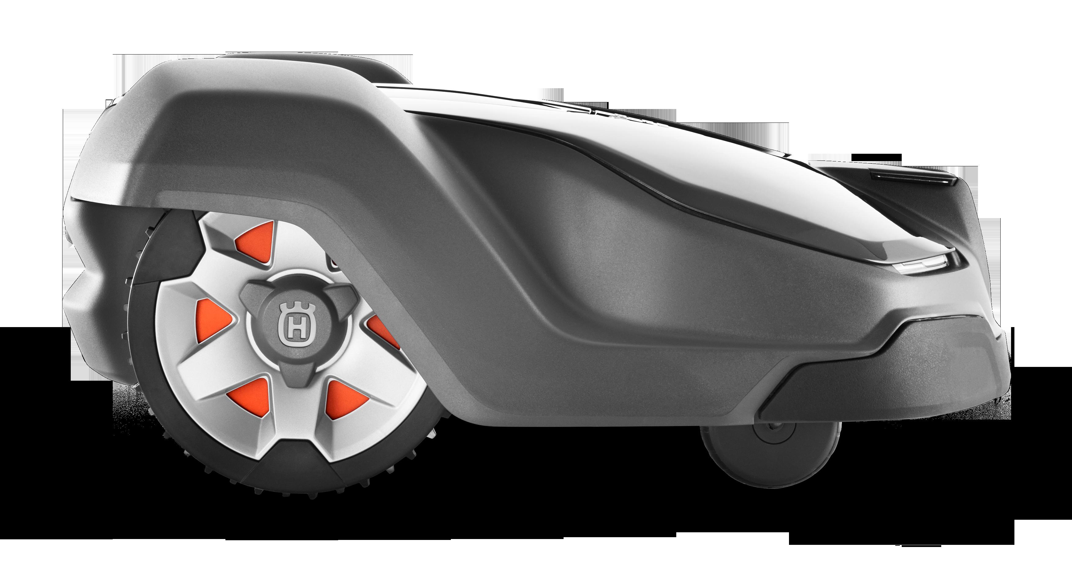 Melns Husqvarna zāles pļāvējs robots – Automower 430X modelis, skats no labās puses