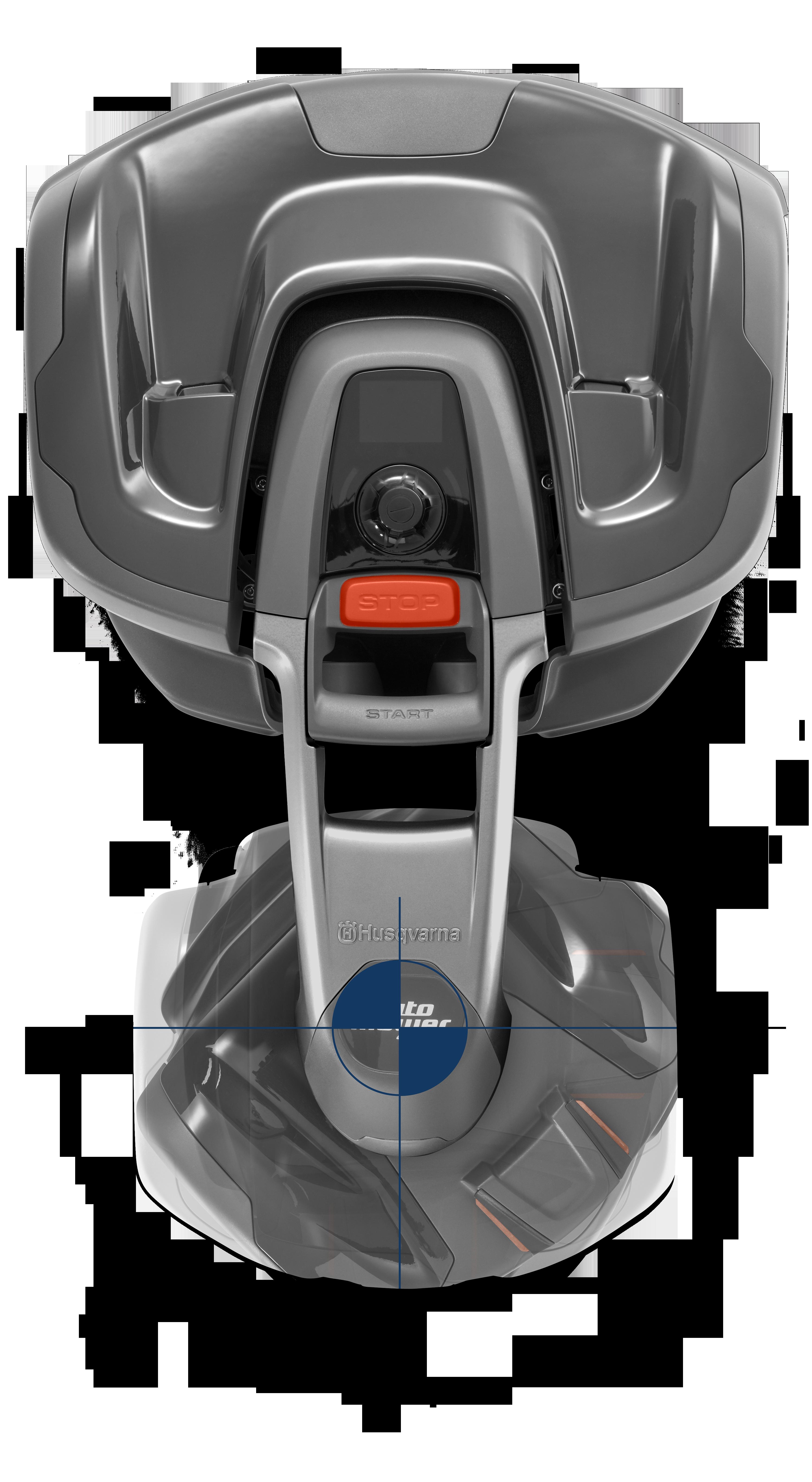 melns husqvarna zāles pļāvējs robots ar parādītu asmeņu griešanās virzienu