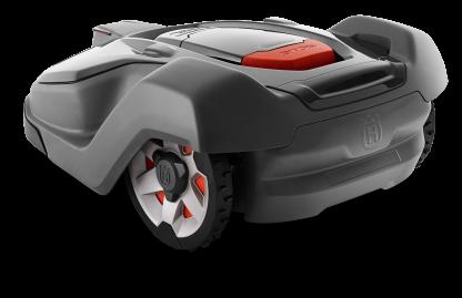 Melns Husqvarna Automower zāles pļāvējs robots, 450X modelis, skats no aizmugures