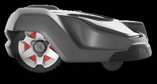 husqvarna tumši pelēks robotizēts zāles pļāvējs no sāna skata