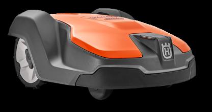 melns ar oranžu augšdaļu husqvarna zāles pļāvējs robots