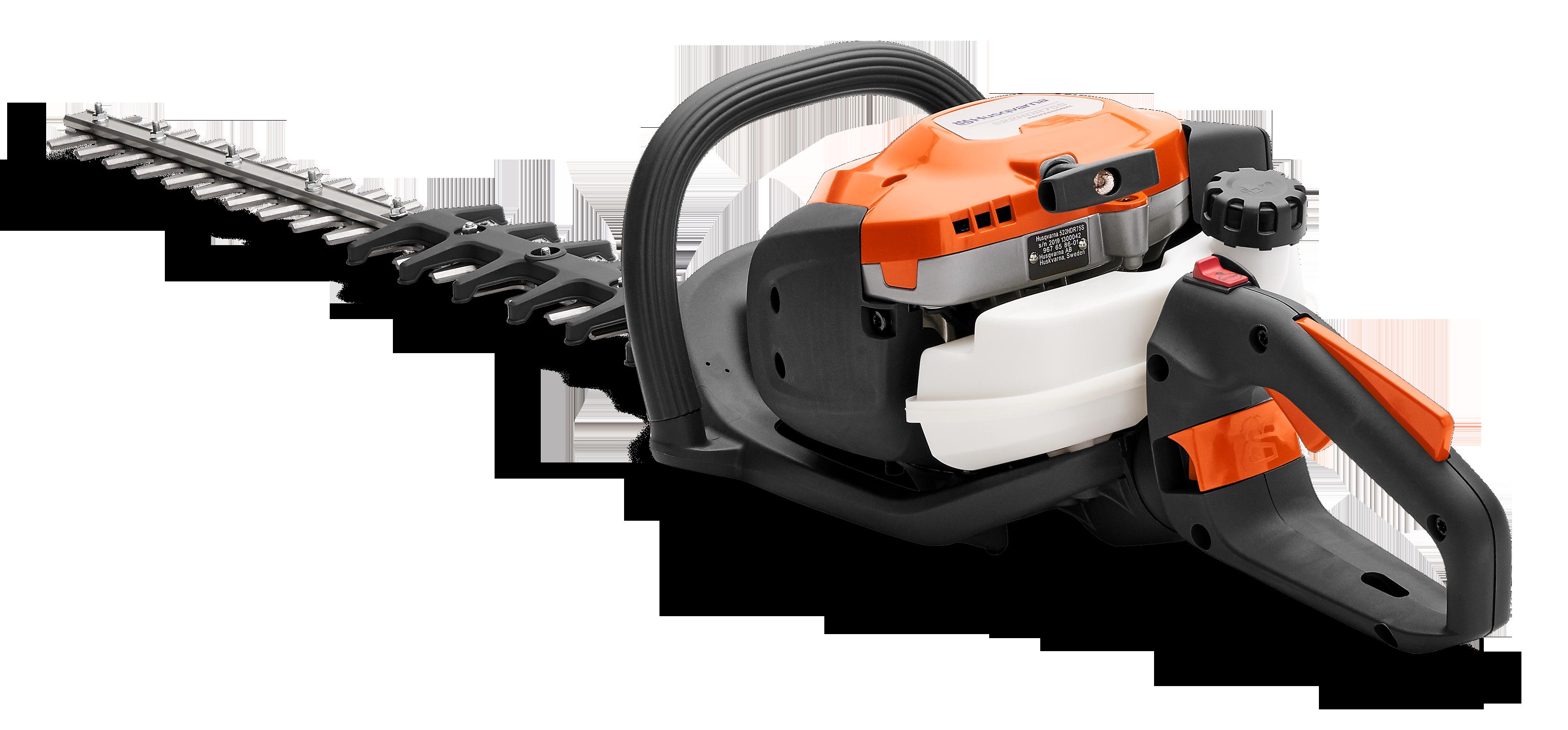 Oranžas Husqvarna Dzīvžogu šķēres, modelis ''522HDR75X'', skats no aizmugures kreisās puses