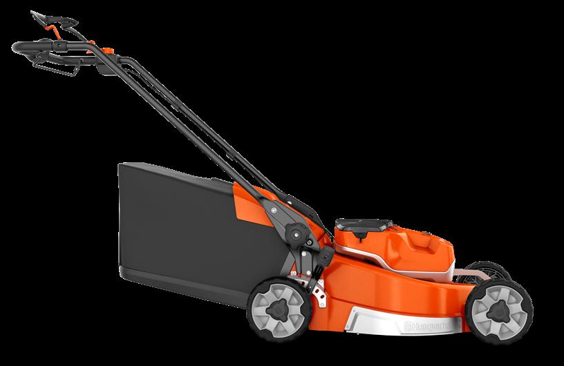 Oranžs Husqvarna Akumulatora Zāles pļāvējs, modelis ''LC551iV'', skats no labās puses
