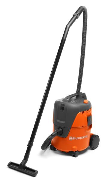 husqvarna putekļusūcējs oranžā krāsā ar garo trubu