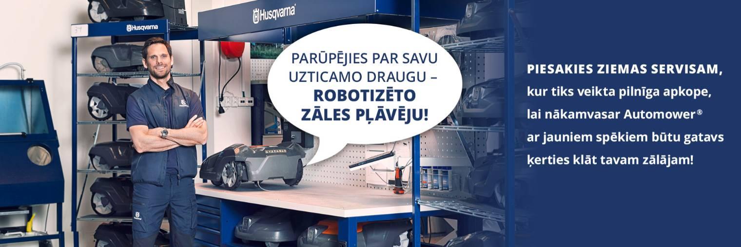 Robotizēto zāles pļāvēju ziemas servisa izsludināšana un aicinājums