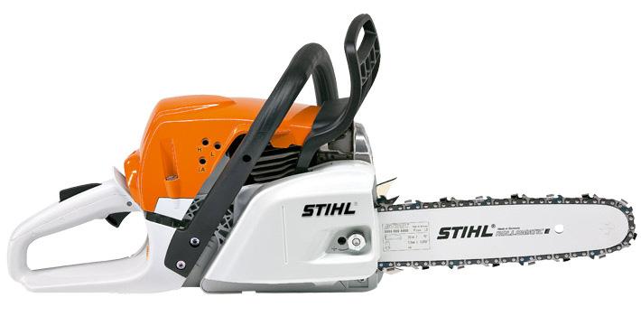 Oranžs, balts Stihl motorzāģis, modelis ''MS231'', skats no labā sāna