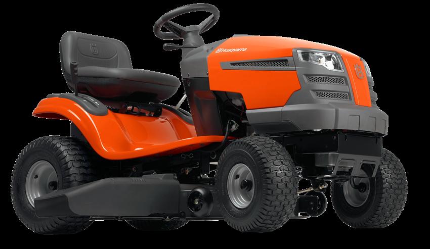 Oranžs Husqvarna mauriņa traktors, modelis ''TS 142L'', skats no priekšas labās puses
