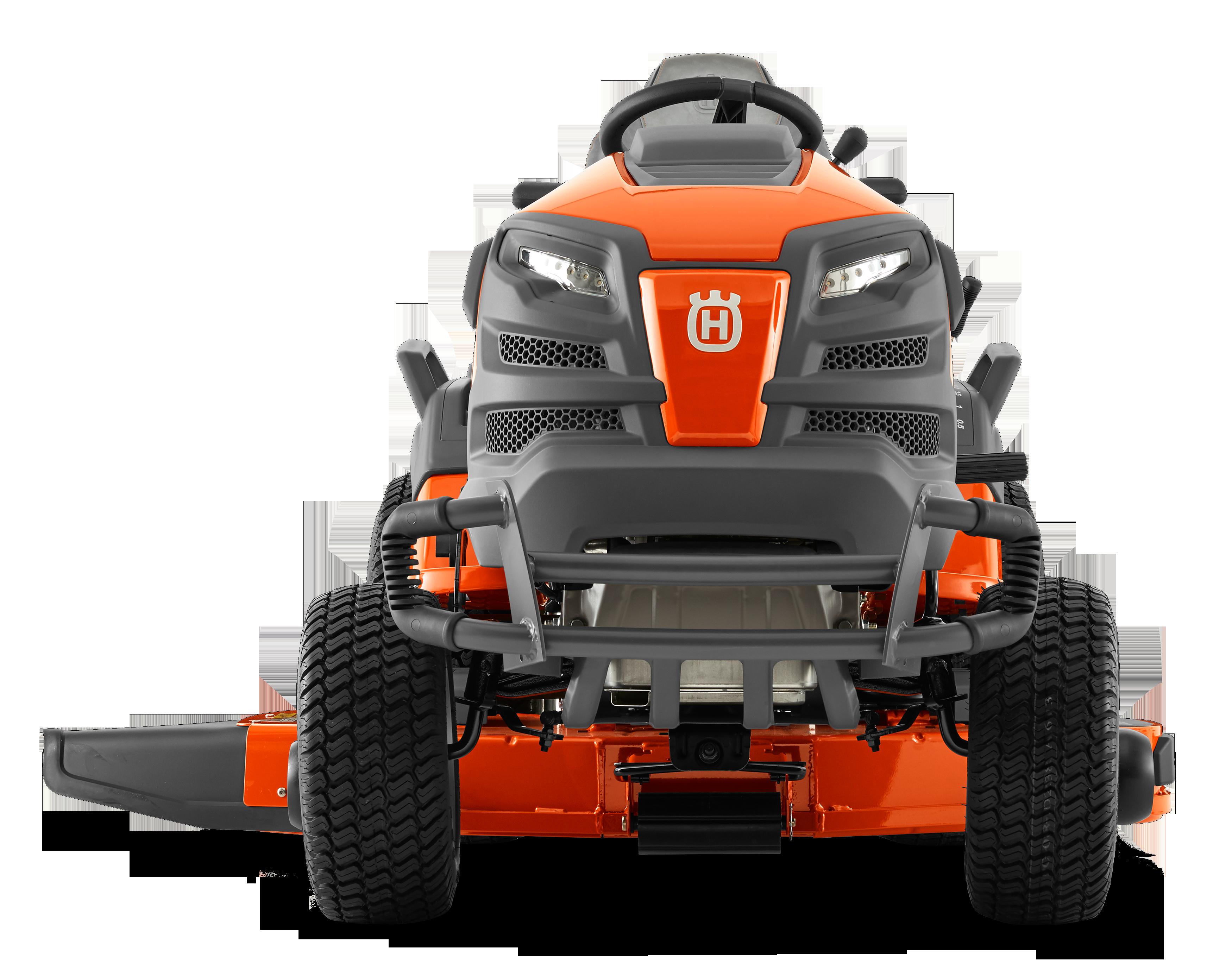 Oranžs Husqvarna raideris, modelis ''TS348'', skats nu priekšas