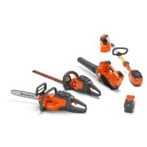 Oranži Husqvarna instrumenti - motorzāģis, lapu griezējs, lapu pūtējs, trimmeris