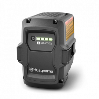 Melns Husqvarna Akumulators, modelis ''BLi200X'', skats no aizmugures