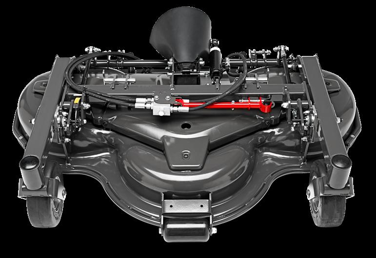 Melns Husqvarna Pļaušanas bloks raideriem ar savācējgrozu, modelis ''Combi 132X'', skats no priekšas