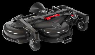 Melns Husqvarna Pļaušanas bloks raideriem ar savācējgrozu, modelis ''Combi 155'', skats no priekšas