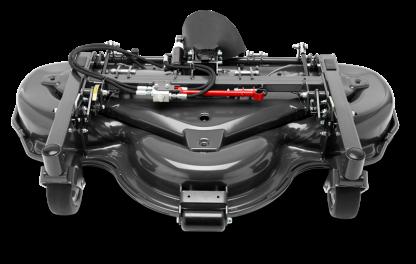 Melns Husqvarna Pļaušanas bloks raideriem ar savācējgrozu, modelis ''Combi 155X'', skats no priekšas