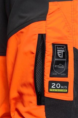 Oranžas ar melnu Husqvarna aizsargbikses, aizmugures daļas ventilācijas rāvējslēdzēji