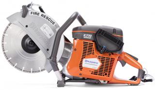 """Oranžs Husqvarna spēka zāģis, modelis """"K 770 Rescue'', skats no kreisā sāna"""