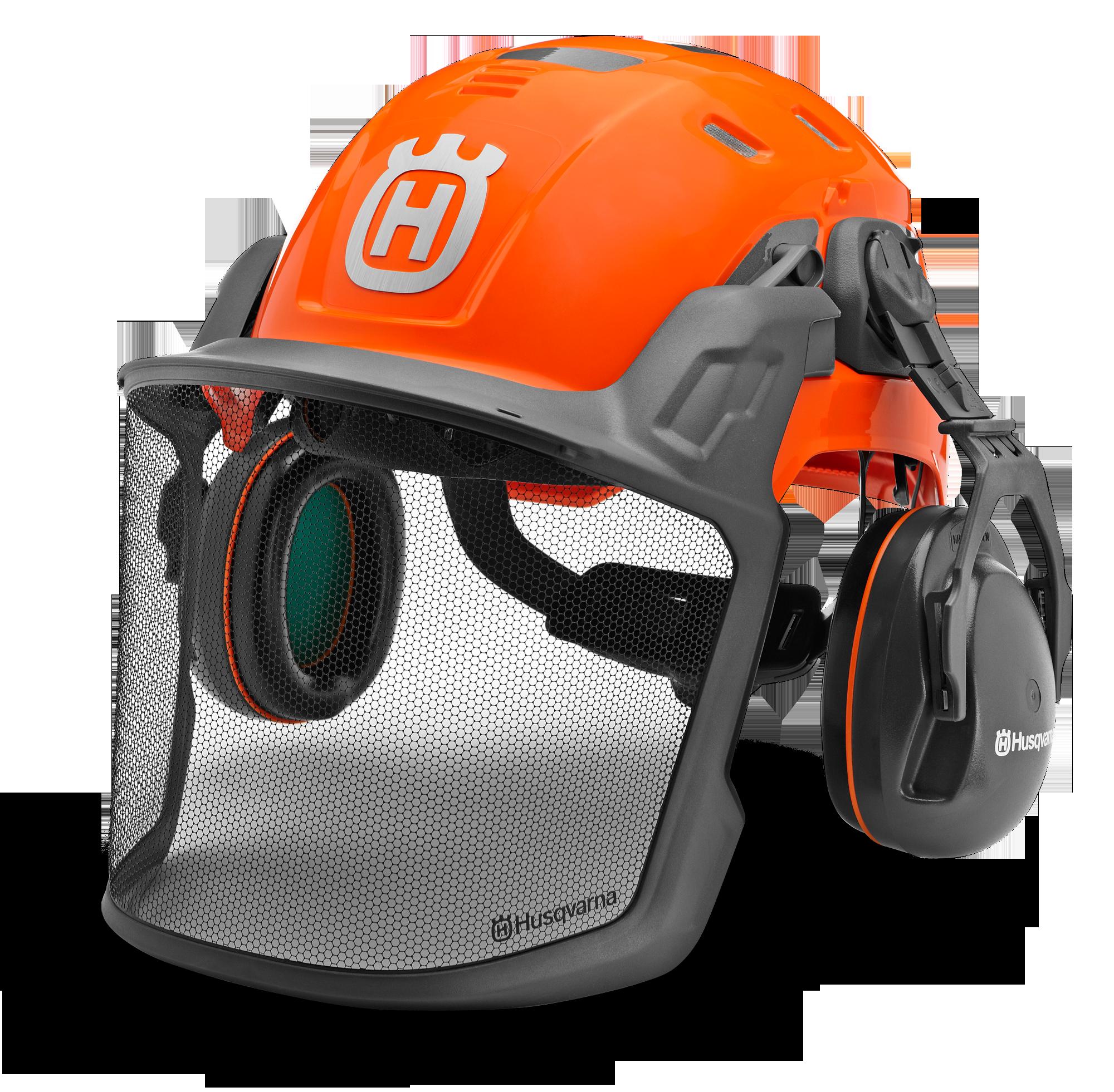 Oranža Husqvarna aizsargķivere ar skaņas apturošām austiņām un sietiņveida sejas aizsargu