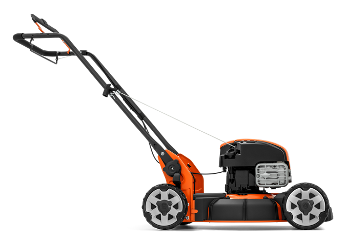 Oranžs Husqvarna zāles pļāvējs, modelis ''LB248S'', skats no labā sāna