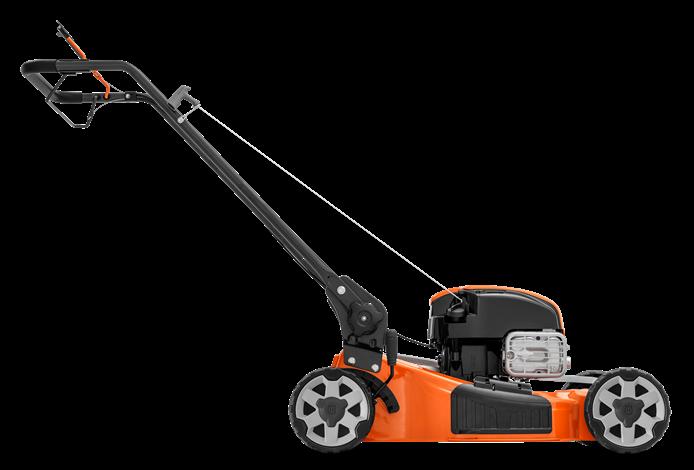 Oranžs Husqvarna zāles pļāvējs, modelis ''LB256S'', skats no labā sāna