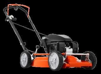 oranžs Husqvarna zāles pļāvējs ar melnu akumulatoru