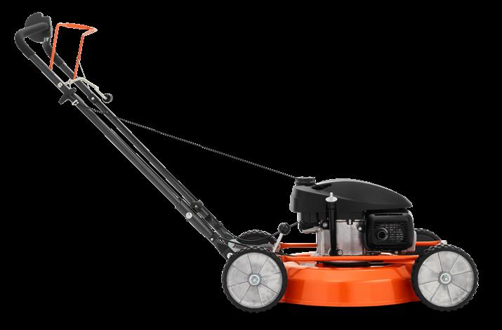 Oranžs Husqvarna zāles pļāvējs, modelis ''LB553S'', skats no labā sāna