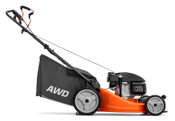 Oranžs Husqvarna zāles pļāvējs, modelis ''LC353AWD'', skats no kreisā sāna
