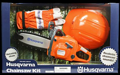 Oranža Husqvarna rotaļlieta - motoržāģis, aizsargķivere un cimdi