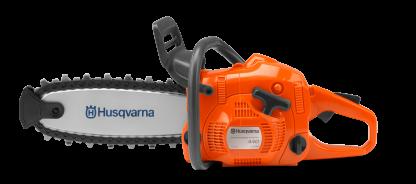 Oranžs Husqvarna motorzāģis rotaļlieta