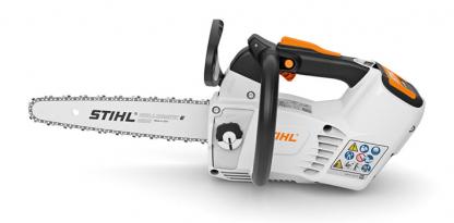 Oranžs, balts Stihl akumulatora zāģis, modelis ''MSA 161 T'', skats no kreisā sāna