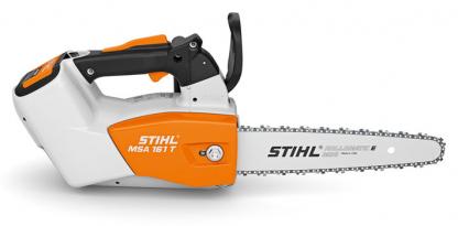 Oranžs, balts Stihl akumulatora zāģis, modelis ''MSA 161 T'', skats no labā sāna
