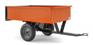 Oranža Husqvarna piekabe, modelis ''275'', skats no labā sāna