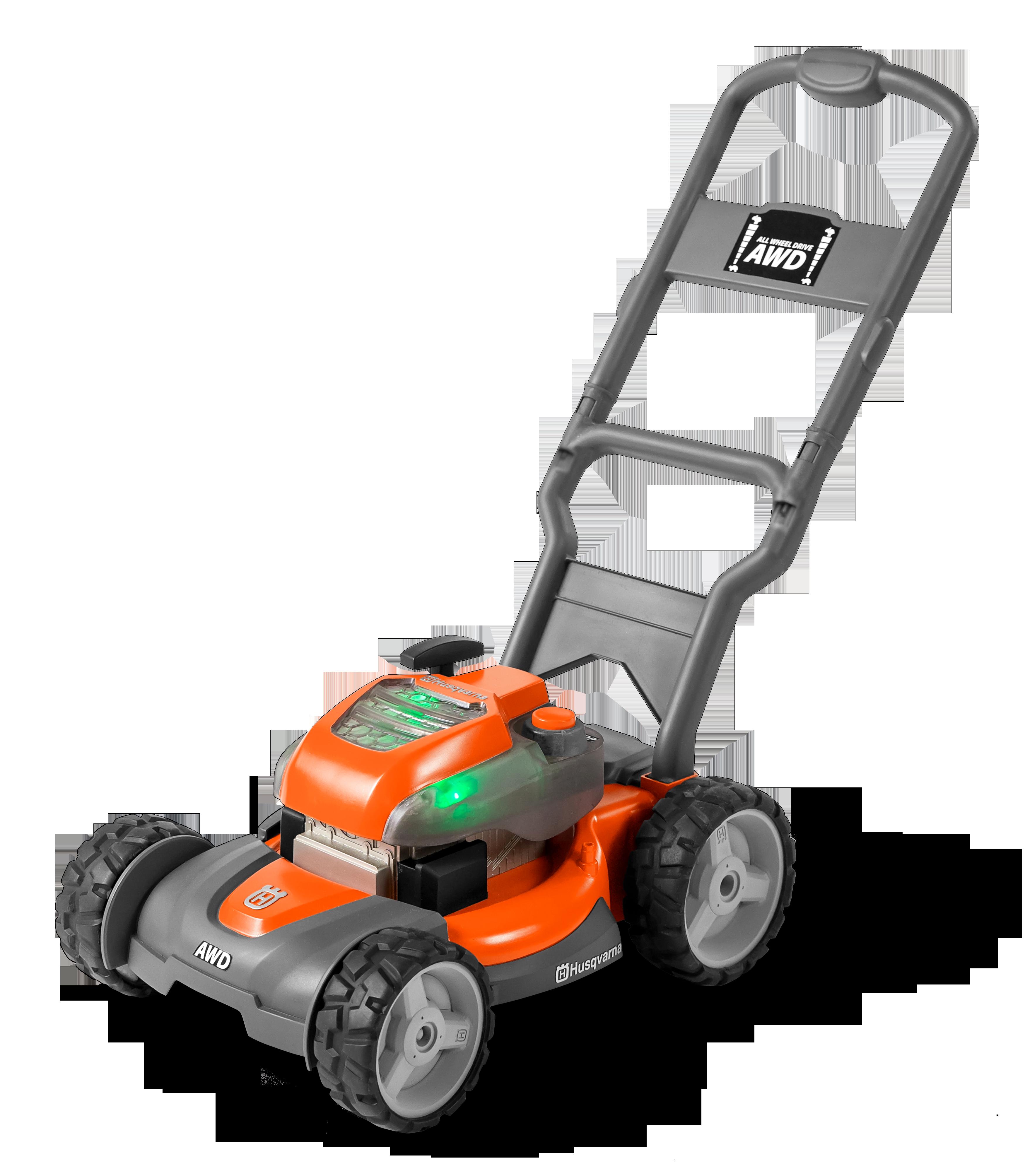 Oranžs Husqvarna rotaļlieta zāles pļāvējs