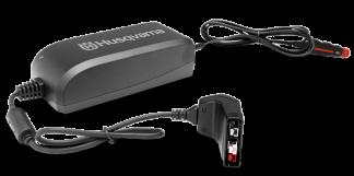 melns husqvarna akumulatora lādētājs