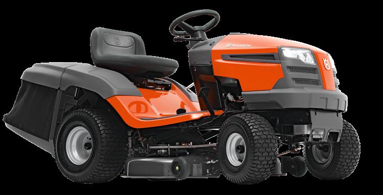 Oranžs Husqvarna zāles pļāvējs traktors, modelis ''TC 138'', skats no priekās labās puses